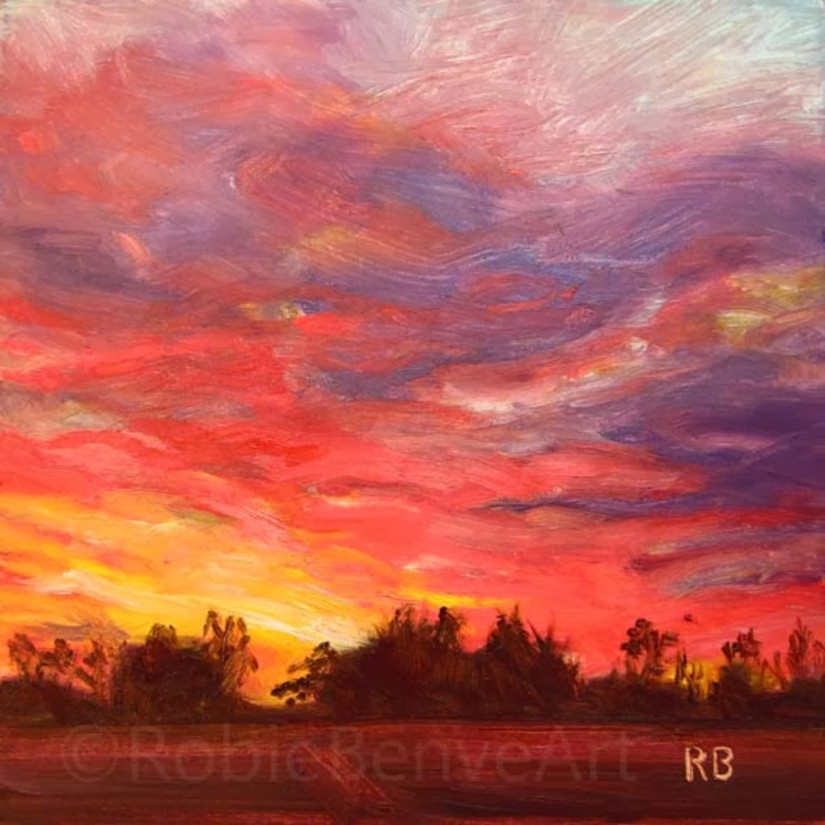 November Sunset, a small oil painting on gesso board