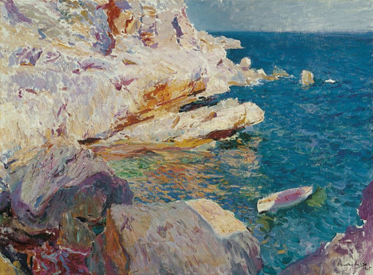 """""""Joaquín Sorolla y Bastida - Rocas de Jávea y el bote blanco"""" by Joaquín Sorolla - Museo Carmen Thyssen, Málaga."""