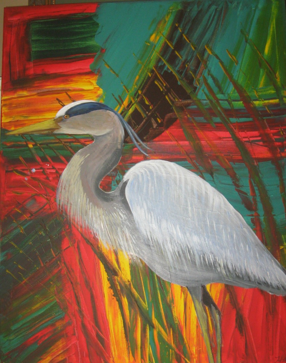 Great Blue Heron I Painted