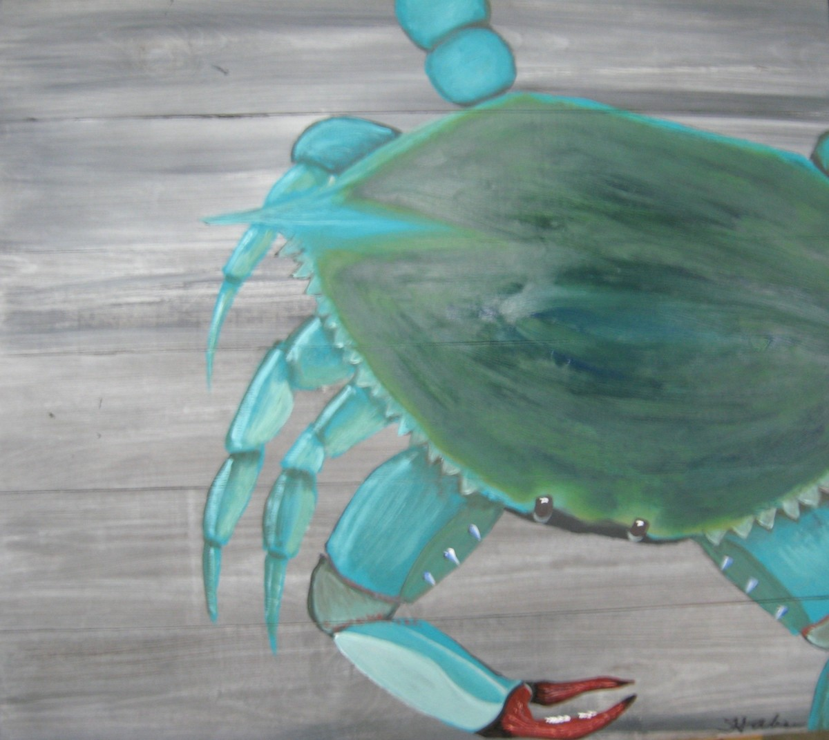 Giant Blue Crab on Wood