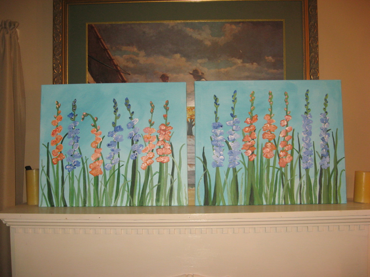 2-part painting of glads