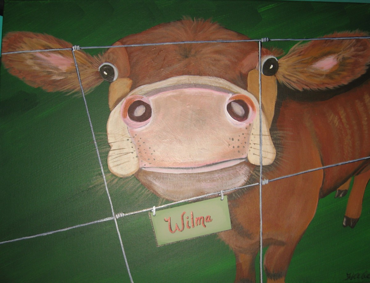Whimsical Cow Painting I did of a customer's pet cow