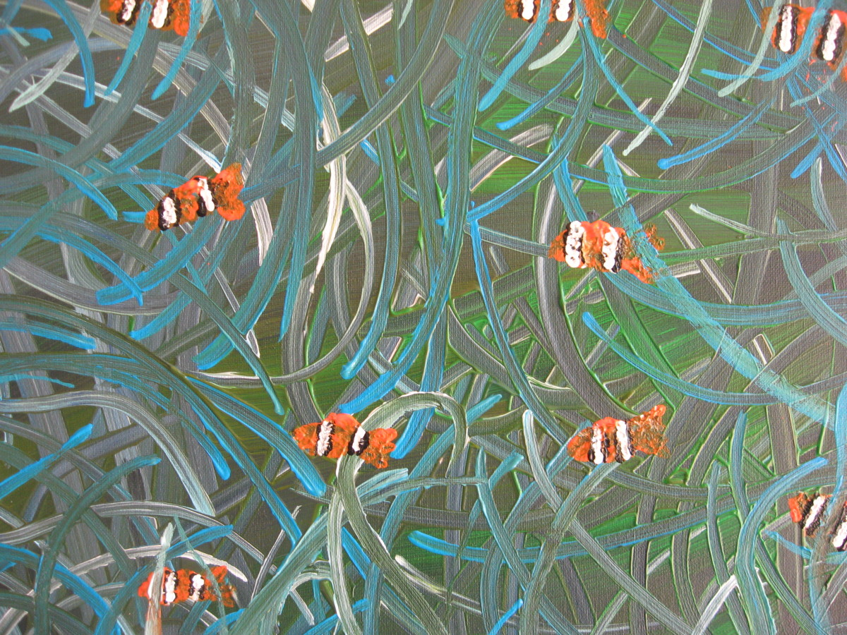 Sea Anemone and Clownfish Painting - Abstract/Impressionistic