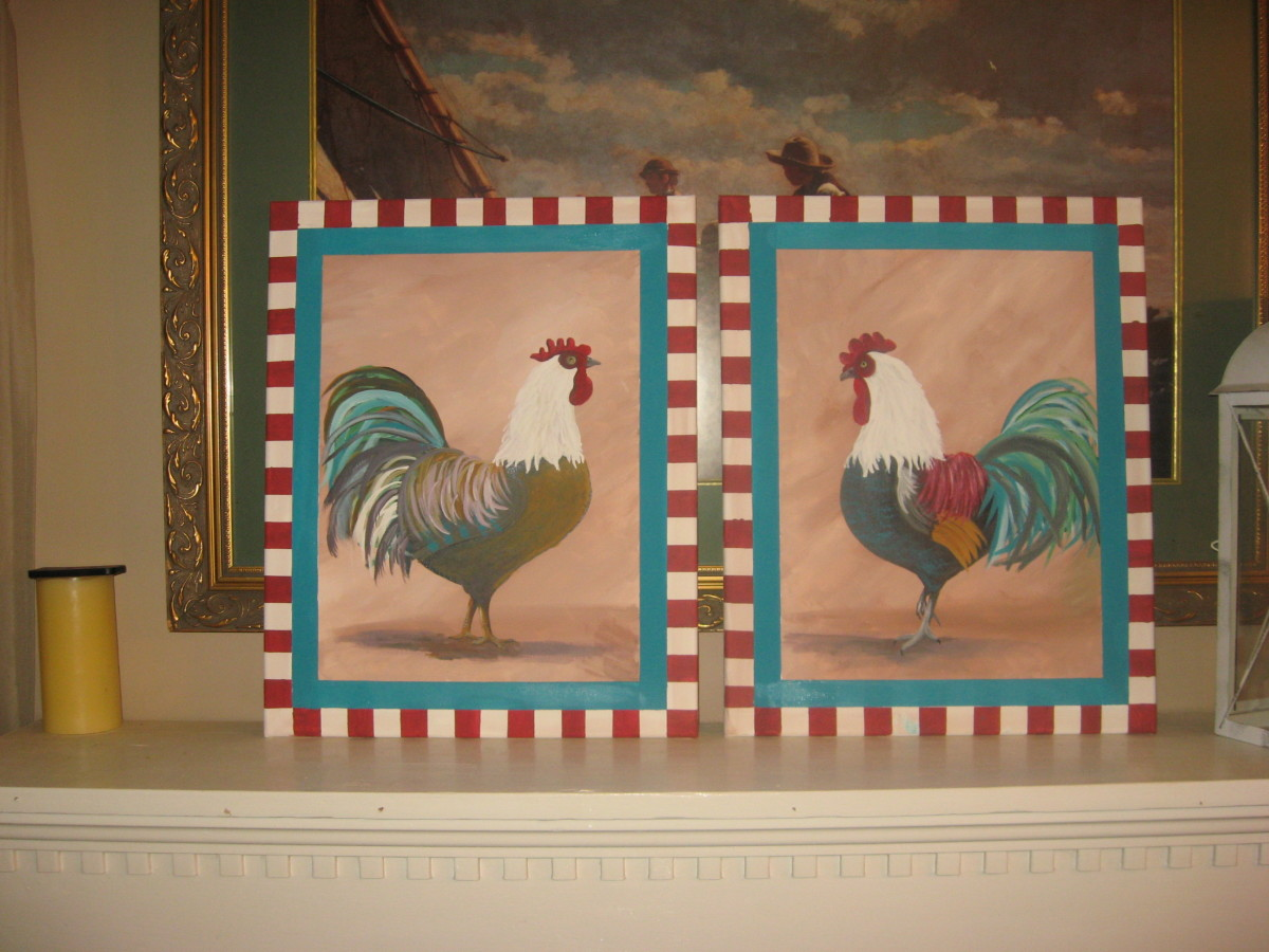 Pair of Rooster Paintings