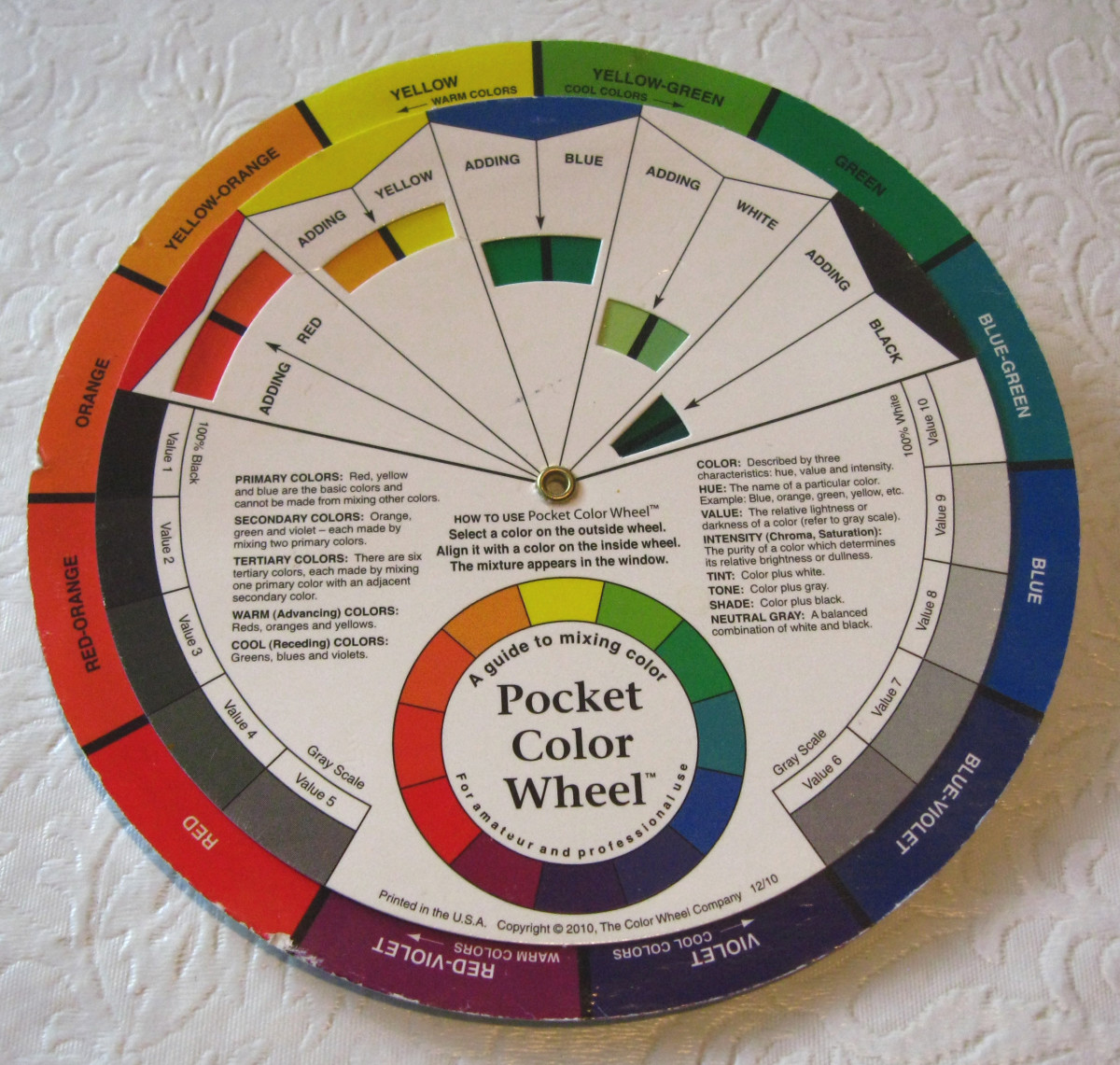 Color Wheel. Warm: Yellow or any color with yellow as a predominant component. Cool: Any blue or color predominantly blue. Red looks like it's in the middle of the temperature scale, and its temperature is relative to the colors next to it.