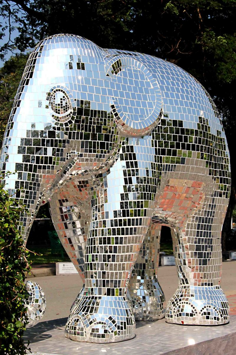 Perhaps not as regal as 'Royal Elephant Gold' illustrated above but this mirrored silver 'disco' elephant is just as striking