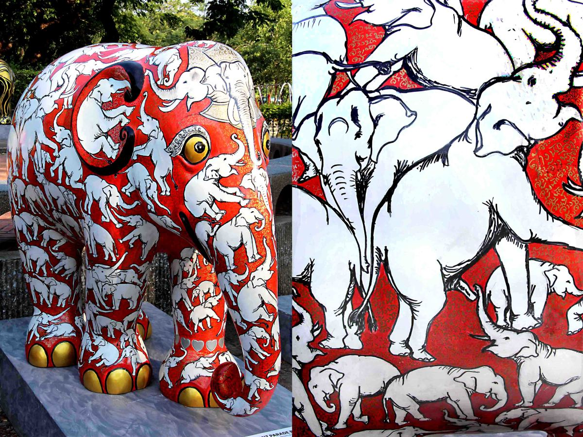 According to the artist, '(each) elephant has its own great ego and identity'. His elephant features a multitude of white elephants designs on a red background