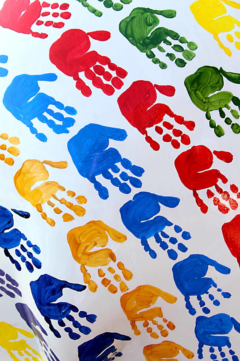 'Ru-Dee' - by INK Team. The INK studio painted their elephant white to represent peace, and covered it in hand prints to represent a 'hand-in-hand' spirit of diversity, unity and helping one another.