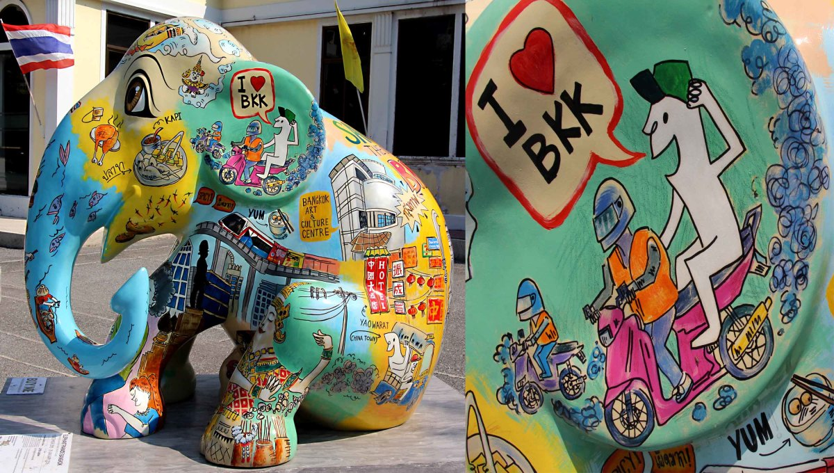 Little Jaidee carries a montage of cartoons in affectionate homage to Bangkok, by one of the city's own artists. Bangkok is often abbreviated to 'BKK'