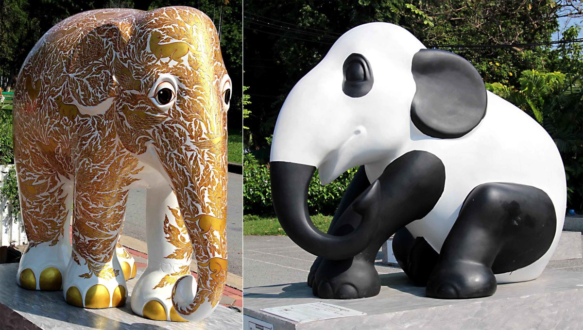 'SuvarnaPlai' combines two Thai words meaning 'pure gold' and 'elephant'. 'Phanda' refers to the worldwide love affair with pandas, which even afflicts Thailand, whilst Thailand's own emblem - the elephant - may seem neglected by comparison