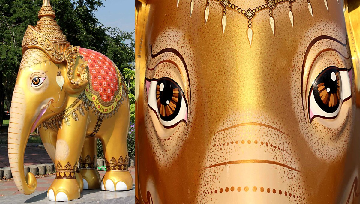 'Royal Elephant Gold' with its imposing regal headdress, had pride of place at the front of the Lumpini Park parade as a 'symbol of auspiciousness and intelligence'