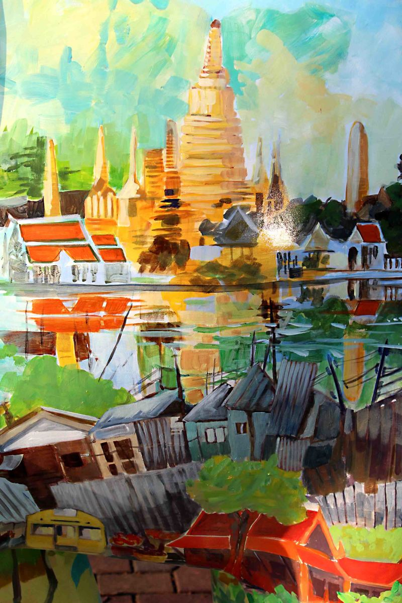 'Khun Lek' - by Elsie Evans. Elsie is a Scot, resident in Thailand for 30 years. Her elephant carries a kaleidoscope of images of temples, cities, coral reefs and other sights she has seen around Thailand