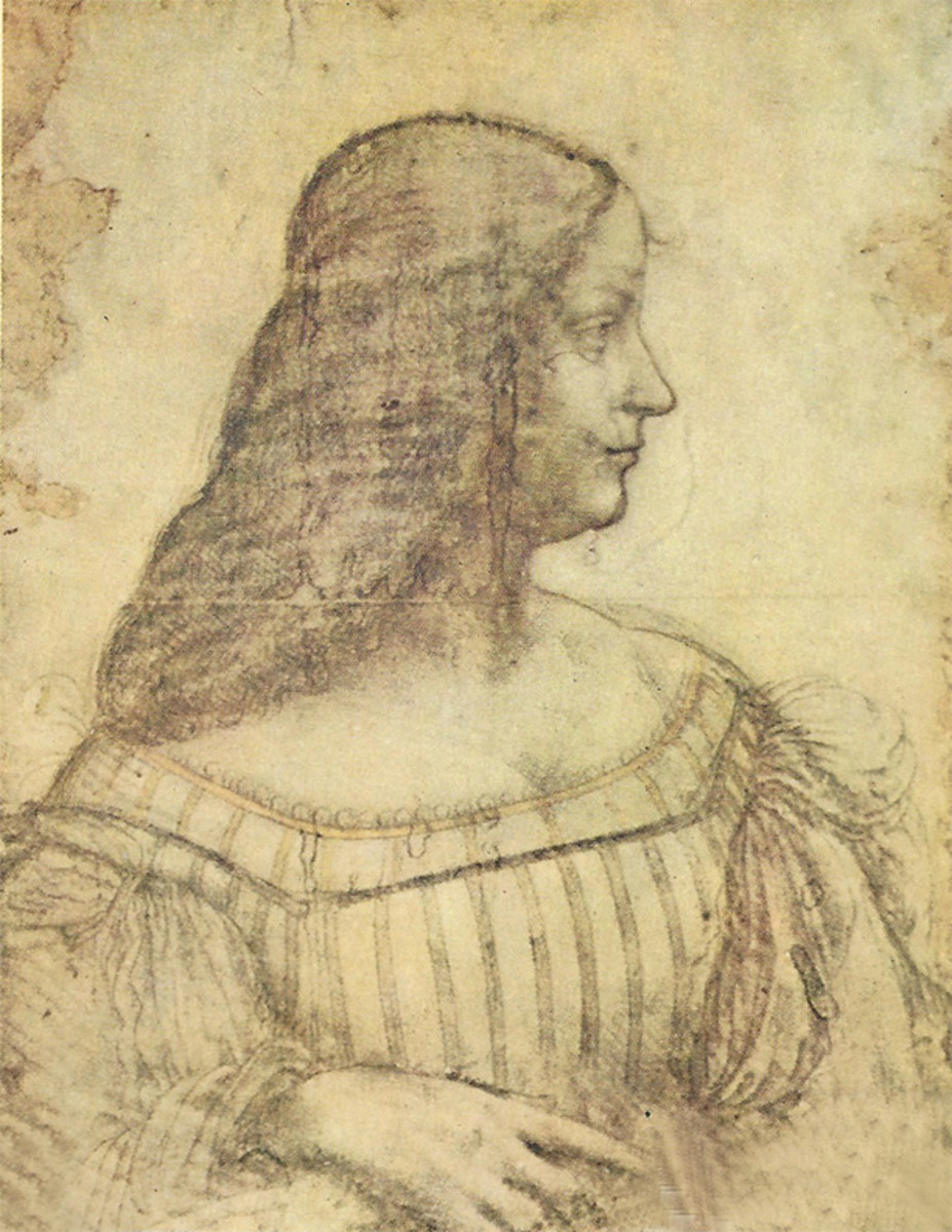 Presumed study of Isabella d'este by Leonardo da Vinci in black chalk and white on brown paper.