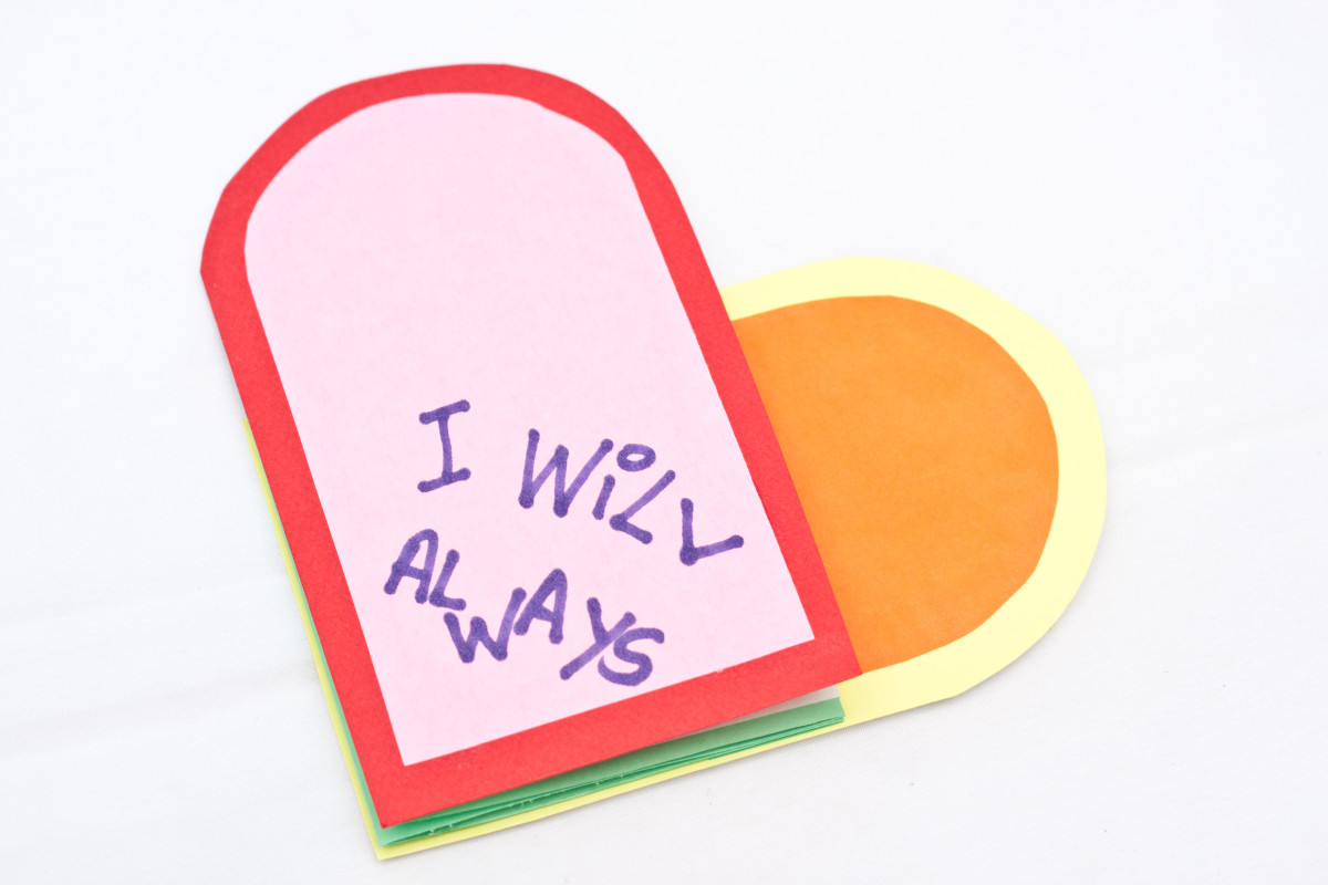 Your finished heart-shaped card