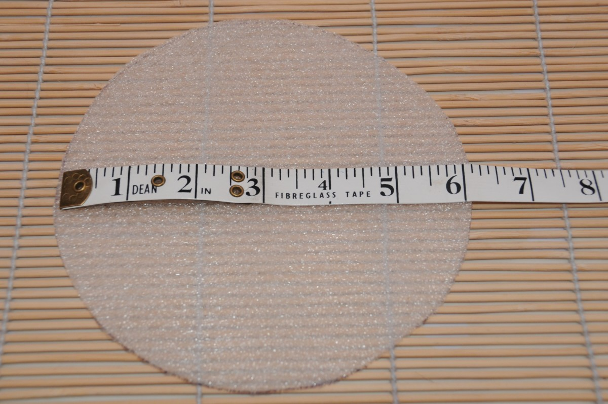 Measuring the template: 6 inch diameter