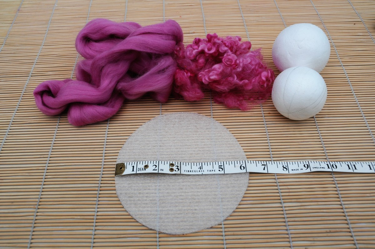 Template, wool roving, polystyrene balls and a few curls for texture if required.