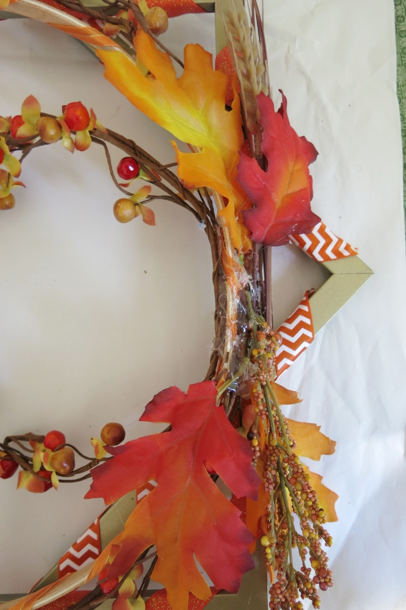 Adding decoration to your fall wreath