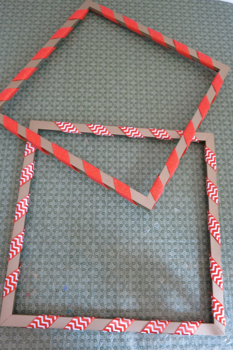 Add ribbon to your frames to make your door decoration