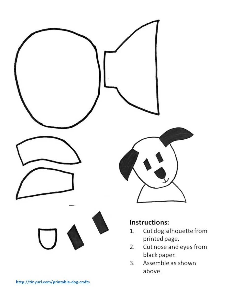 Pattern for happy dog with ears outstretched