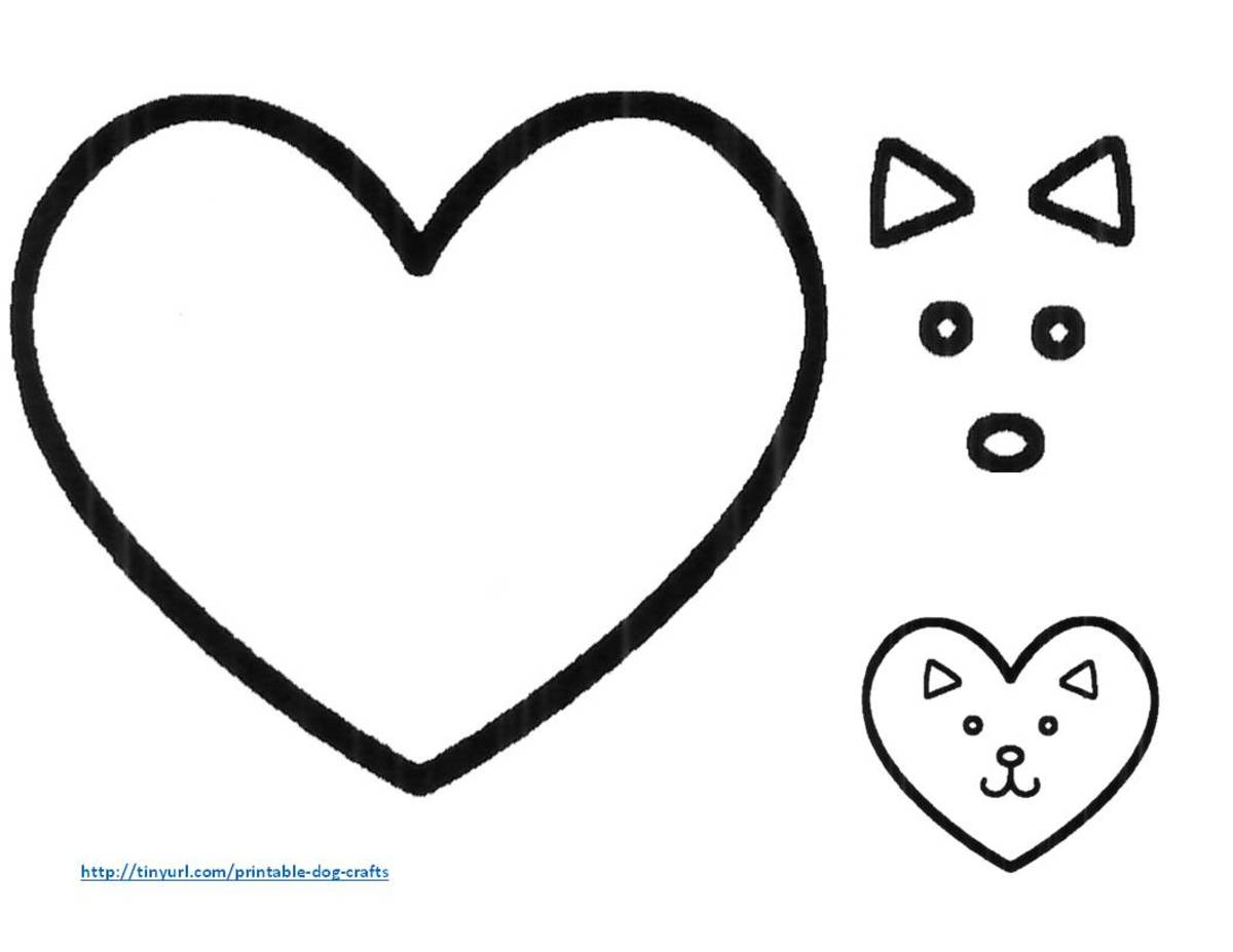 Template for making a dog face from a heart