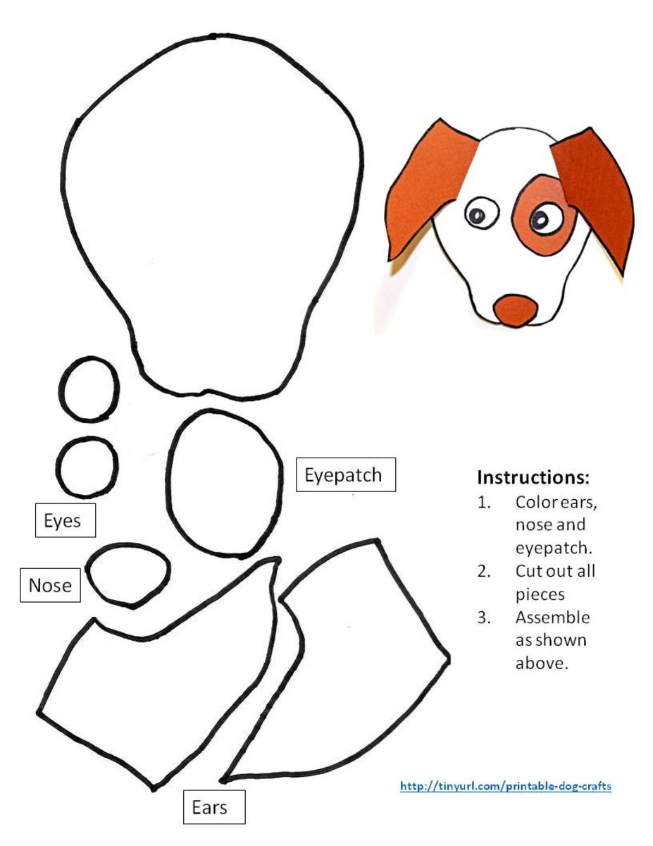 Pattern for dog with folded ears and eyepatch