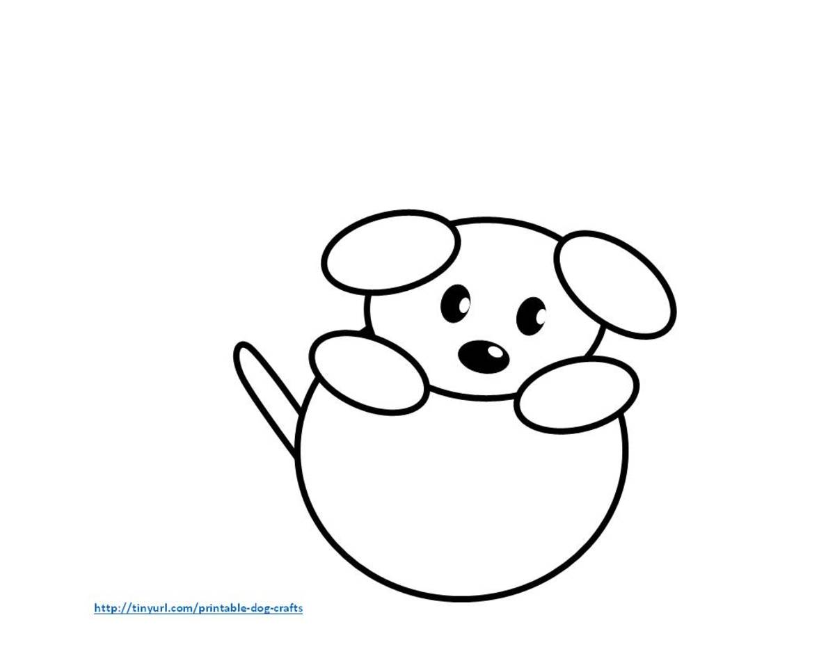 Assembled dog with ball -- made from ovals and circles