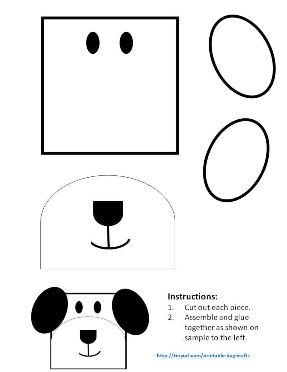 Template for dog made from a square and ovals. On this pattern, you can color the ears whichever color you wish.