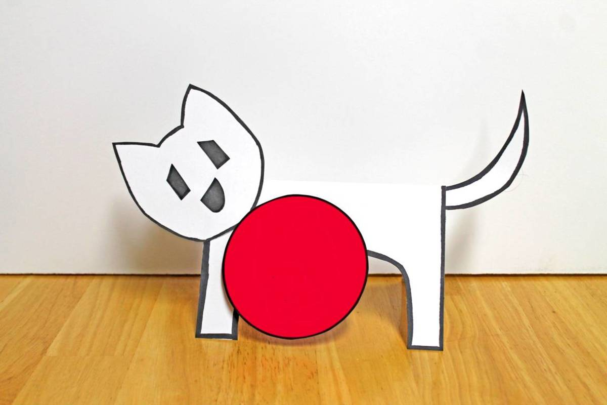 Here is the standing dog assembled. I've cut out a red circle to give him a ball to stand by.