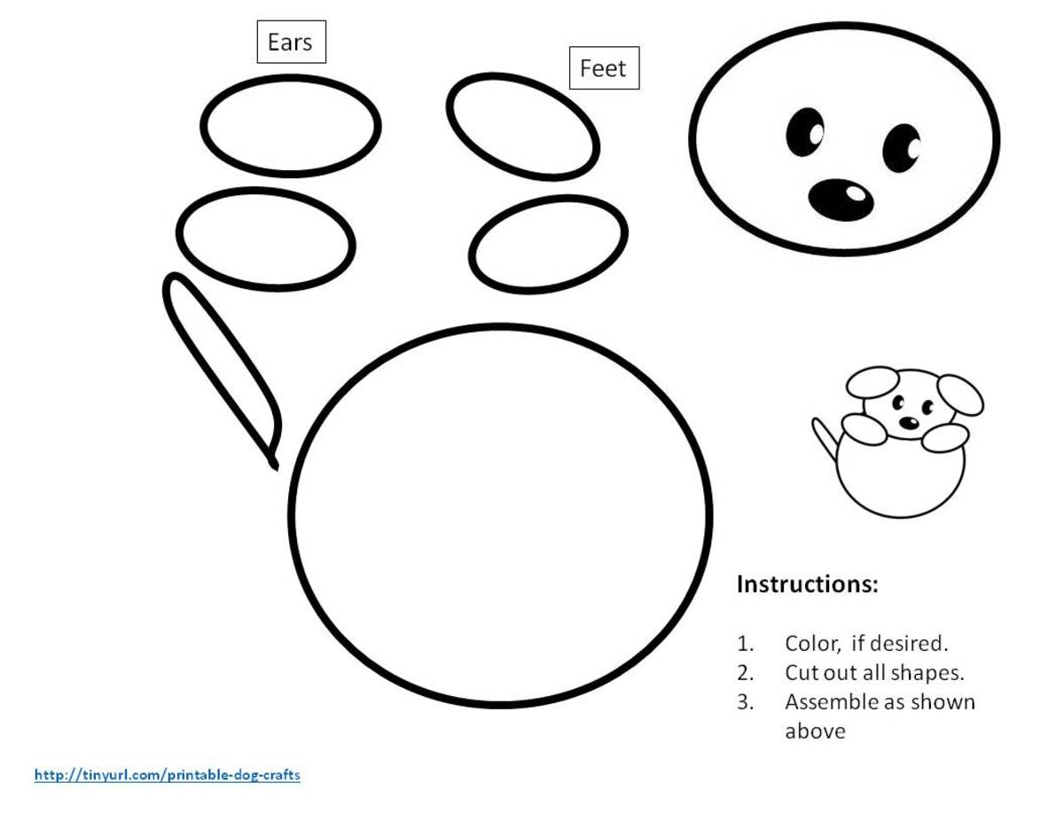 Pattern for dog with ball -- made from ovals and circles
