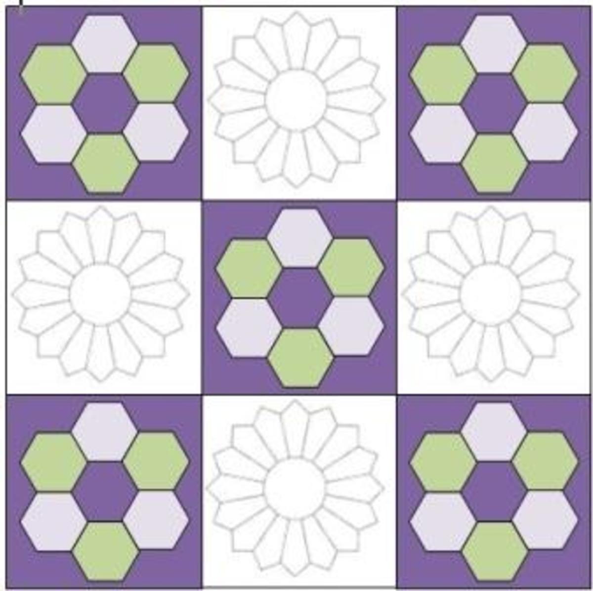 For an interesting variation, alternate hexagon blocks with Dresden Plate blocks.
