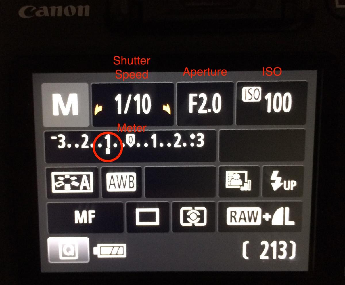 Meter showing underexposure