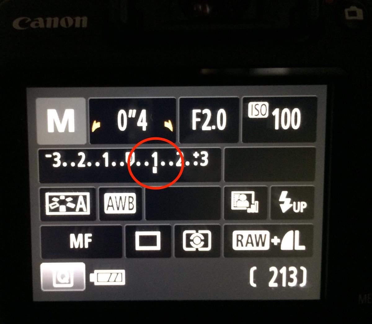 Meter showing overexposure