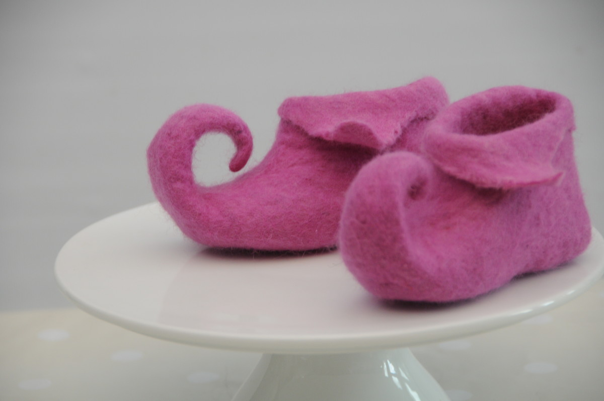 The shaped Pixie Slippers with the Shoe Lasts still inside.
