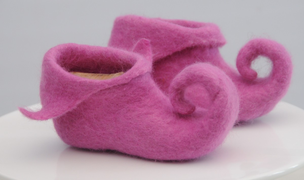 Wet Felted Pixie Slipper with the Shoe Lasts still inside
