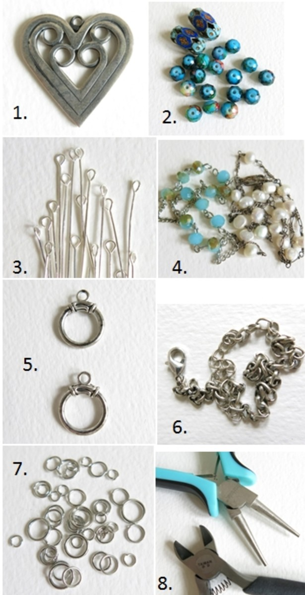 Materials for making a multi-chain layered necklace