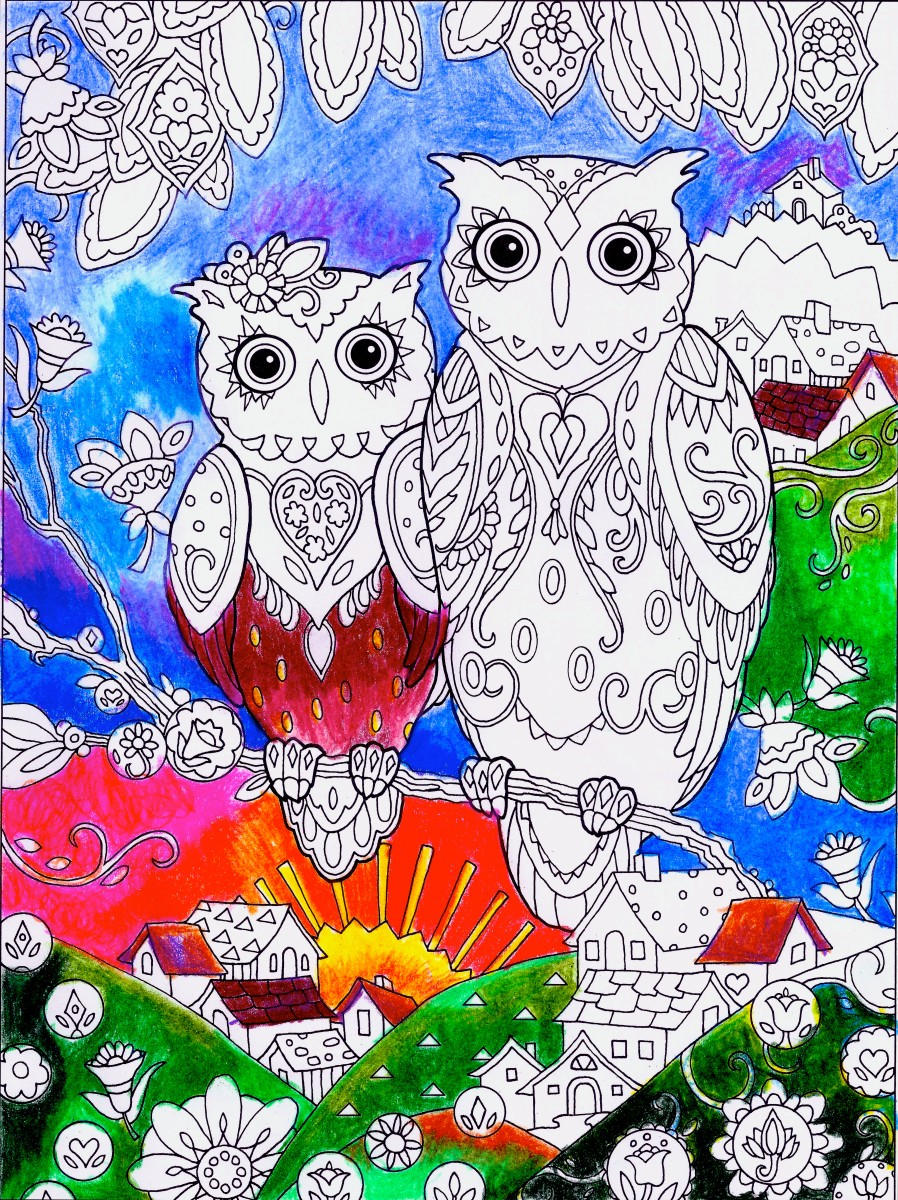 This is an example of an adult coloring book page done with Prismacolor Premier color pencils.  Note the vibrancy of the colors.  These pencils work well on smooth paper somewhat thick paper of adult coloring books.