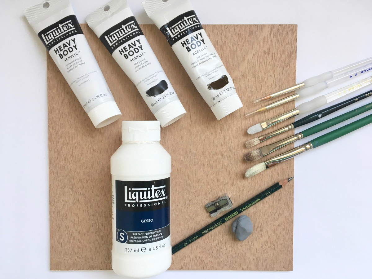 Here are a few of the supplies I used for the seagull painting.