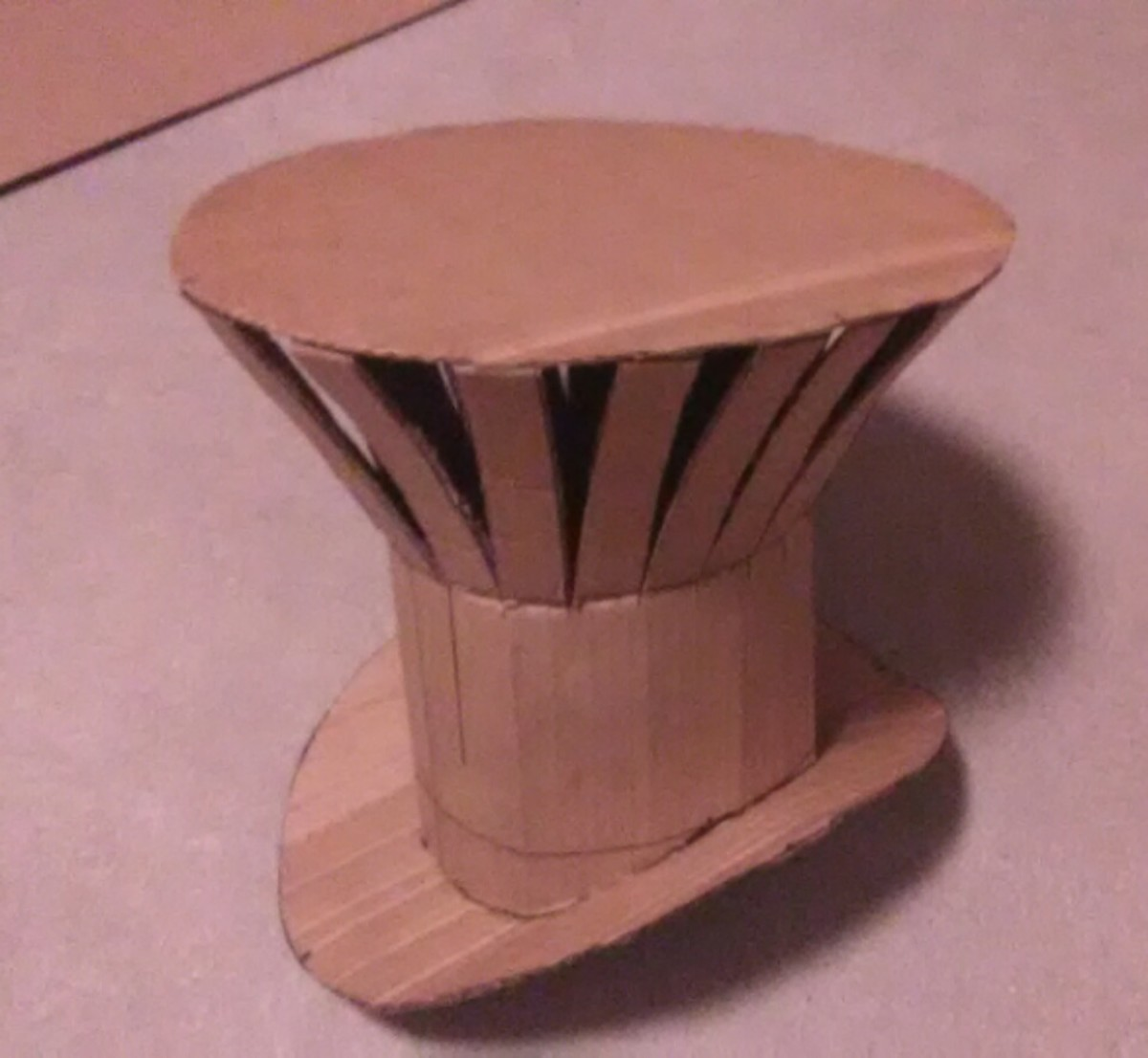 The final cardboard creation is now ready to cover with fabric.