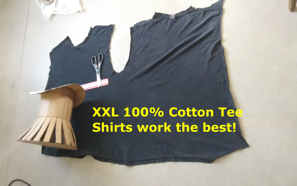 It takes about 1-1/2 shirts to make a large top hat.