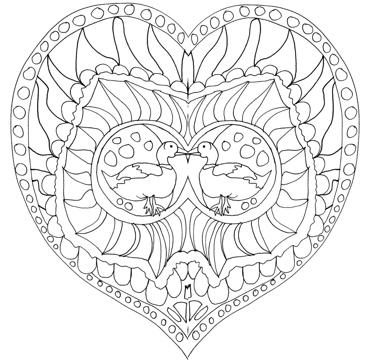 This mandala-inspired coloring page features two ducks at the center of a heart design.
