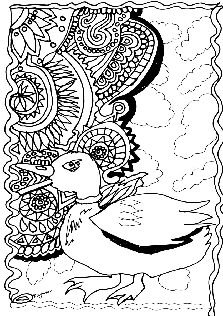 This page features a duck in front of a mandala-inspired background.