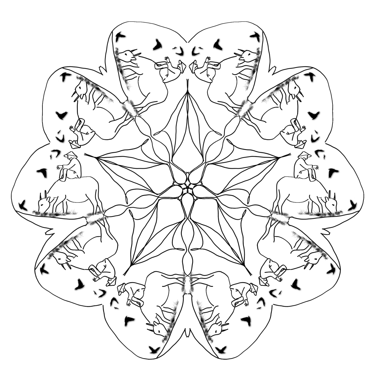 This adult coloring page features a person riding a water buffalo woven into a mandala design.