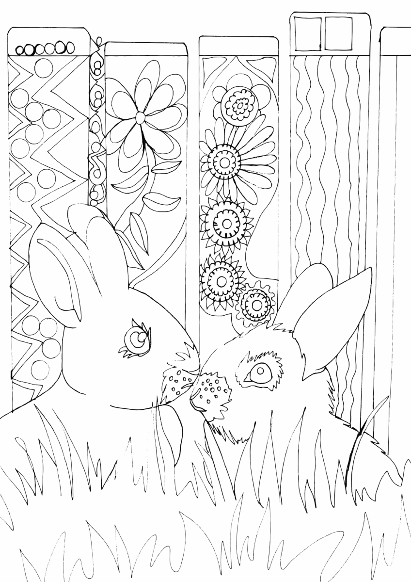Two rabbits sit in front of a mandala-inspired background in this free printable coloring page.