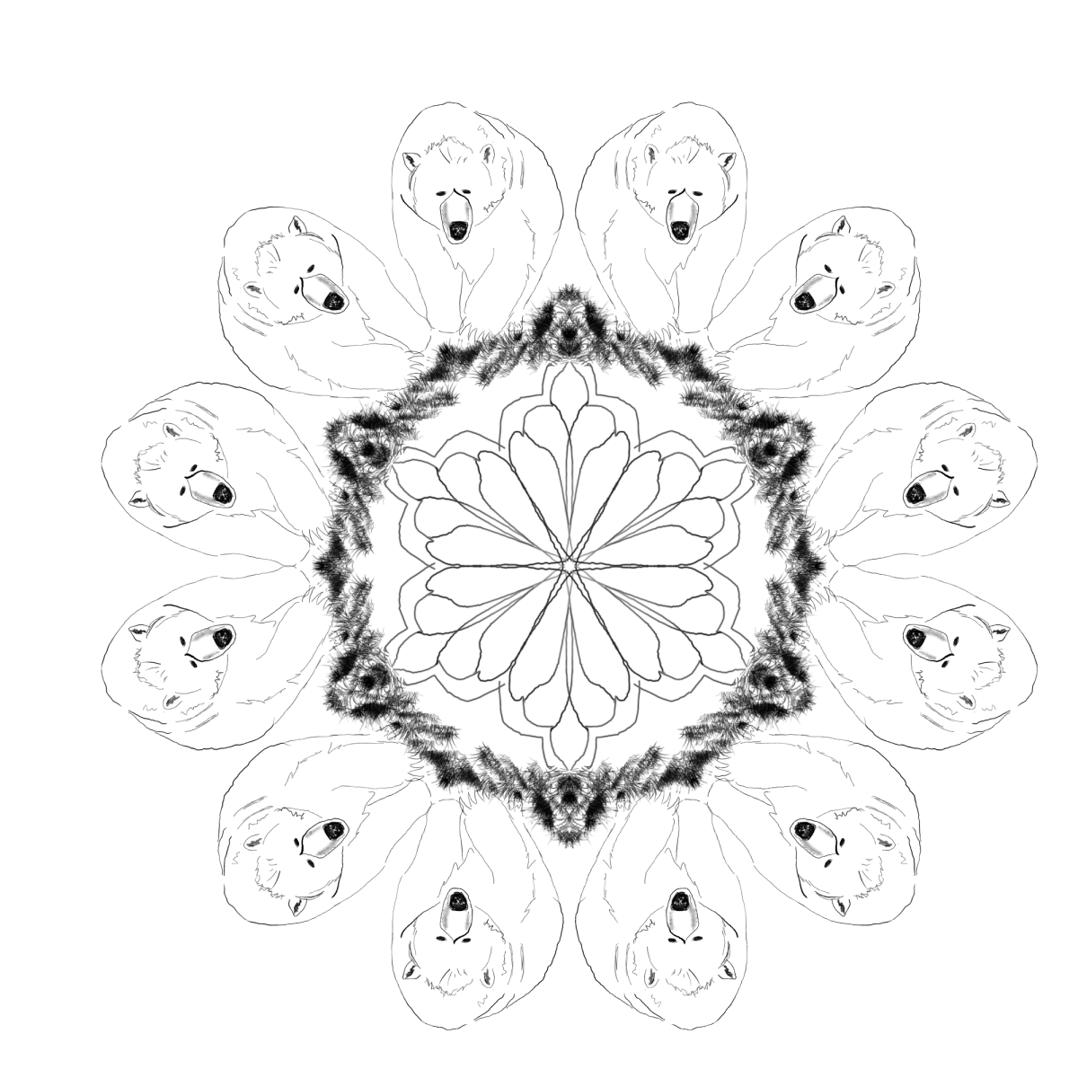 Bears surround a mandala design in this free printable adult coloring page.