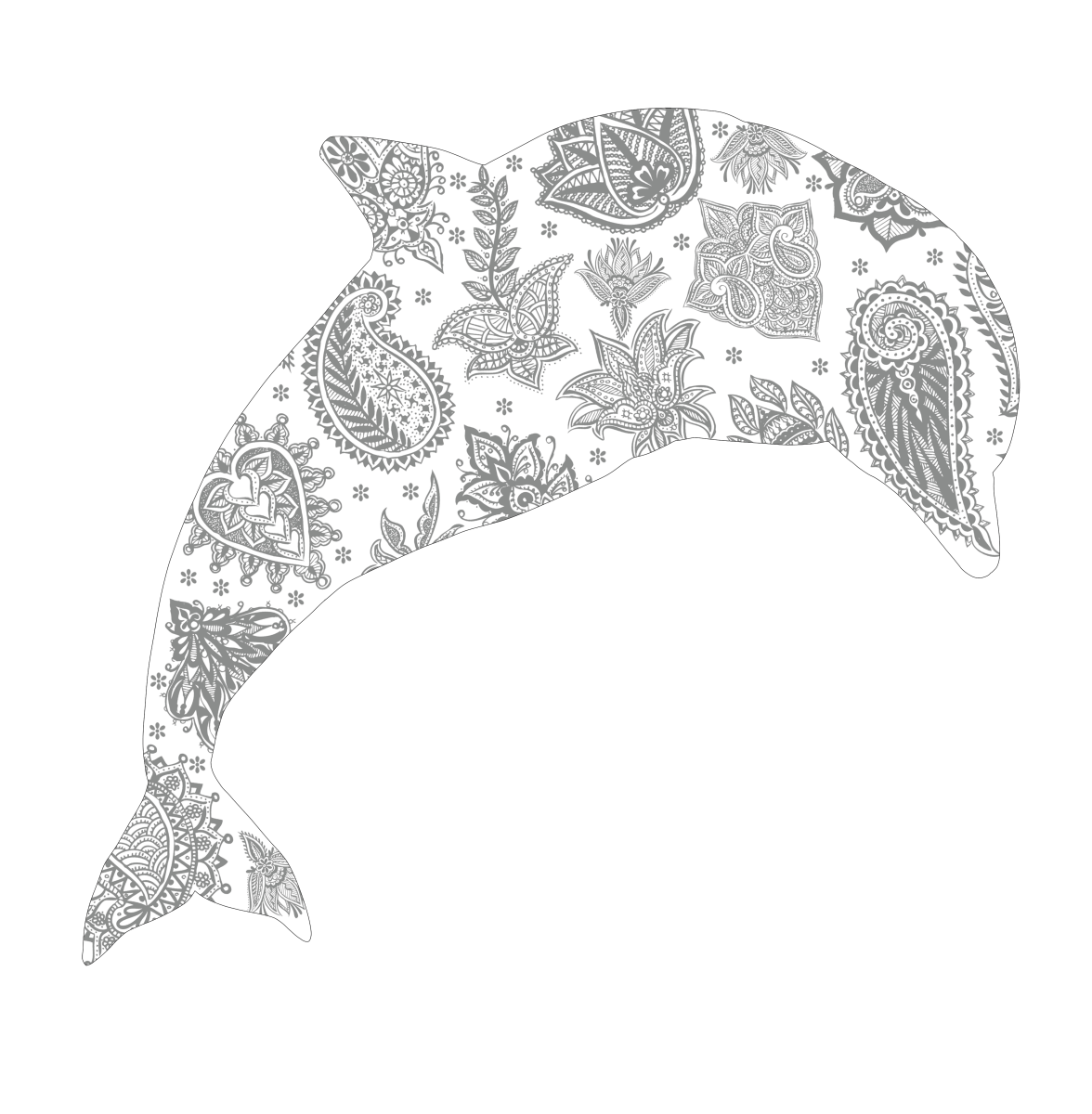 This printable adult coloring page features a dolphin sporting a floral mandala-inspired design.