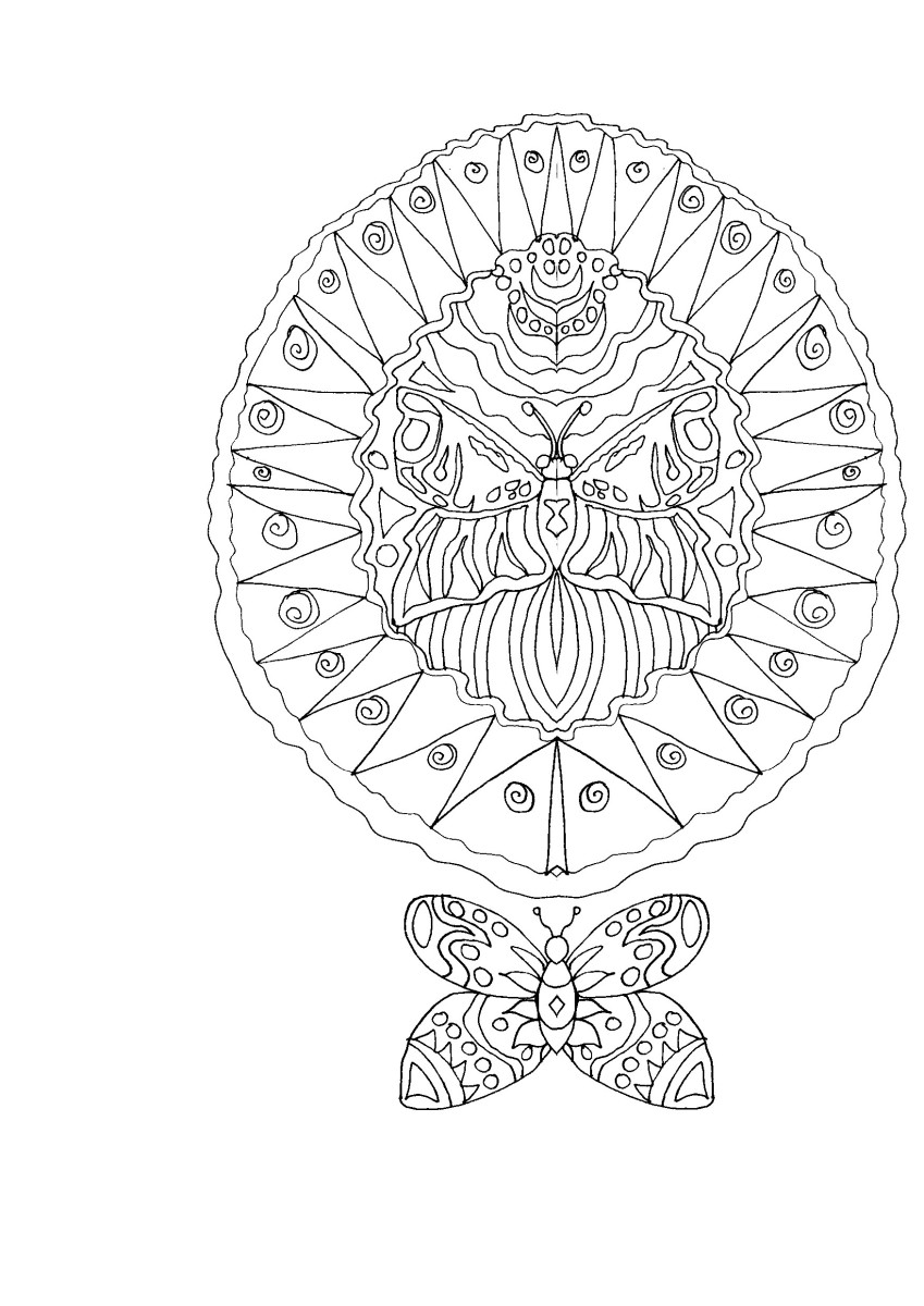 This adult coloring page features two butterflies. One is emerging from its chrysalis.