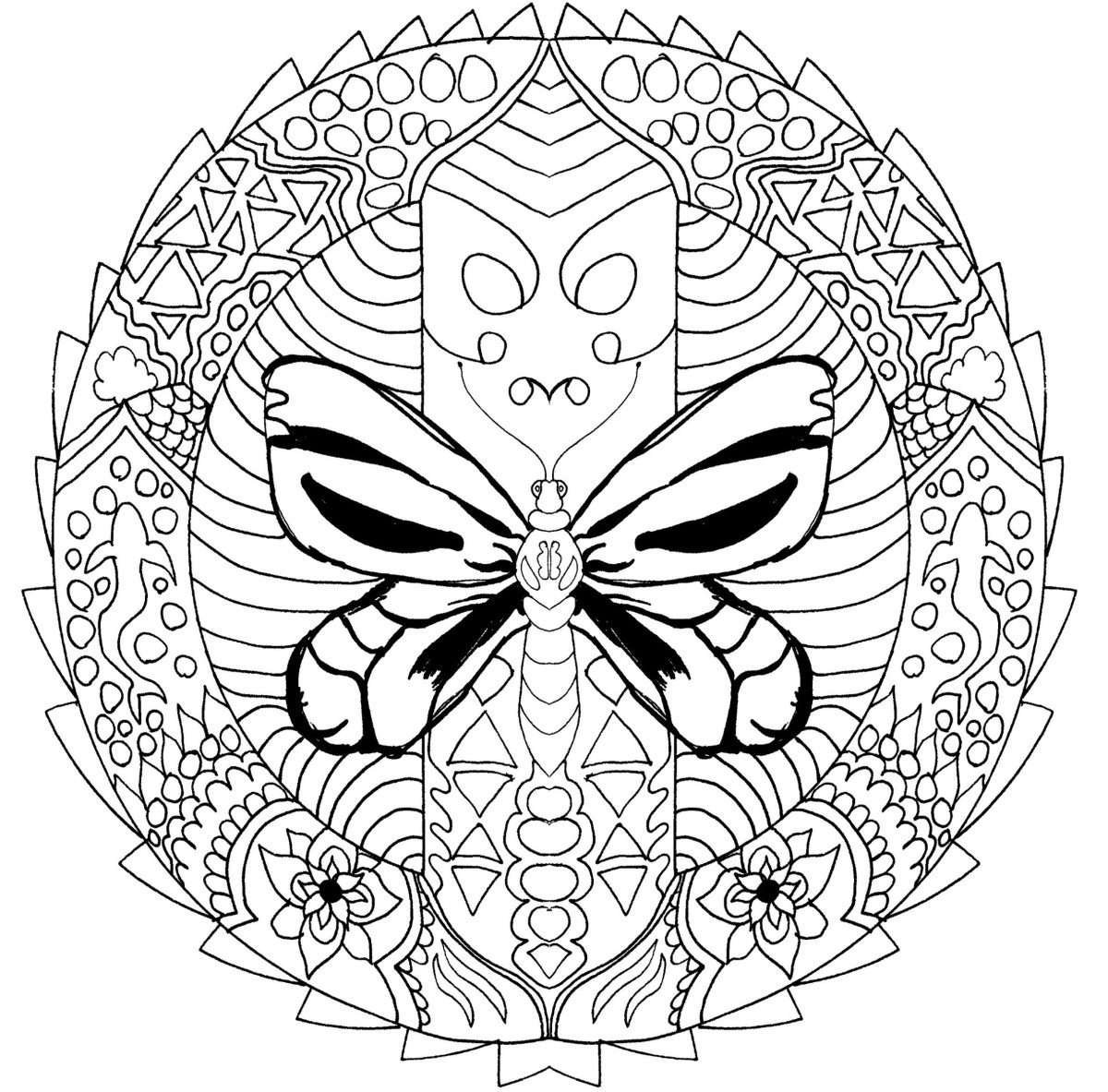This adult printable coloring page features a dragonfly in the middle of a mandala-inspired design.