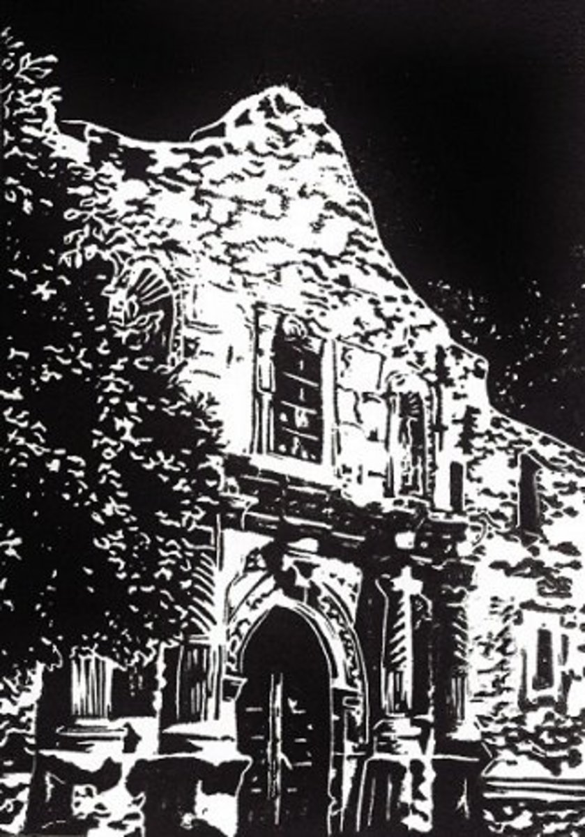 Linocut of The Alamo created by Peggy Woods