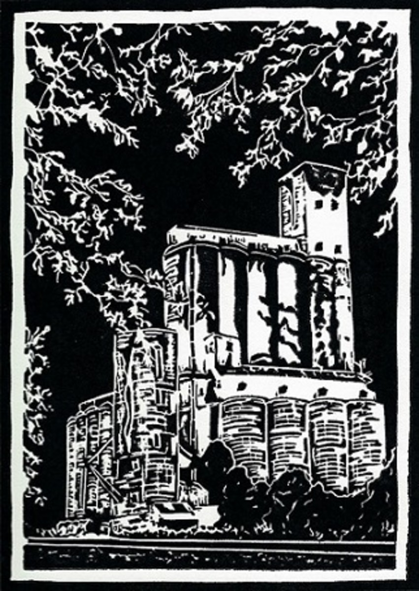 Linocut titled Katy's Heritage by Peggy Woods (First concrete rice dryer in Texas located in the town of Katy.)