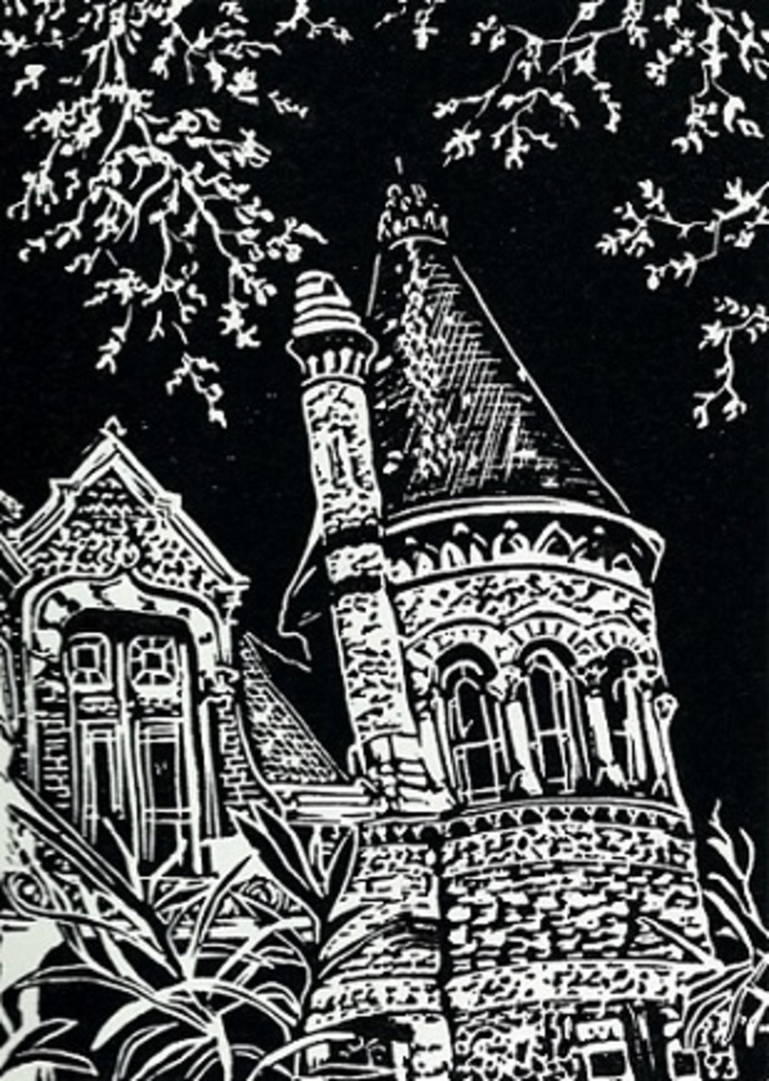 Linocut of Bishop's Palace in Galveston, Texas created by Peggy Woods